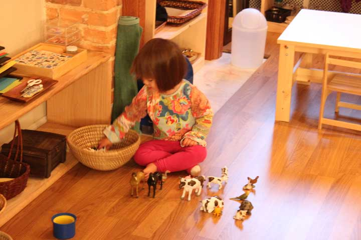 M playing with her farm animals