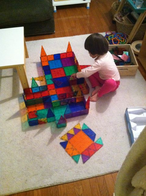 After school activity - Mackenzie builds with Magnatiles